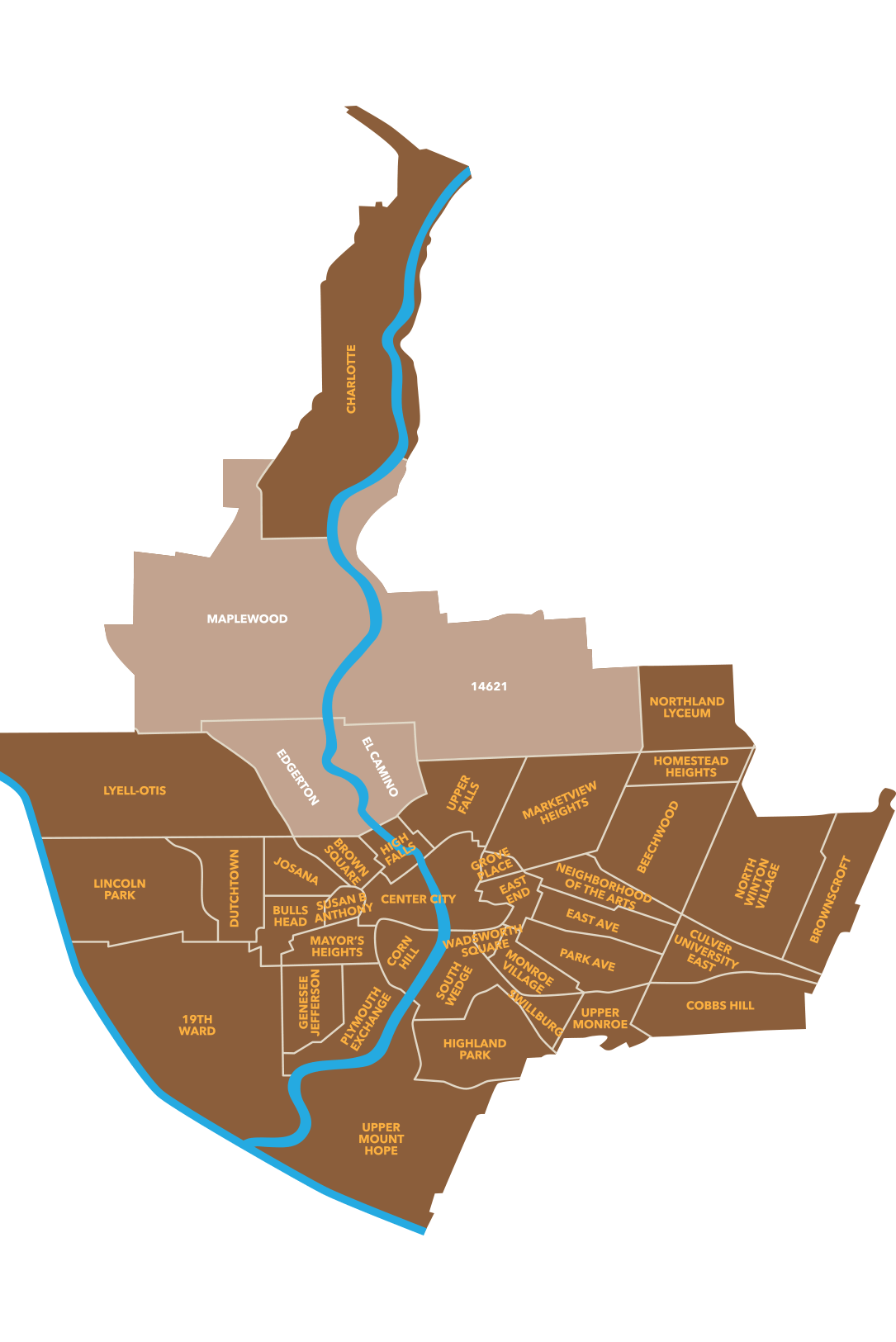 Neighborhoods of Rochester Map